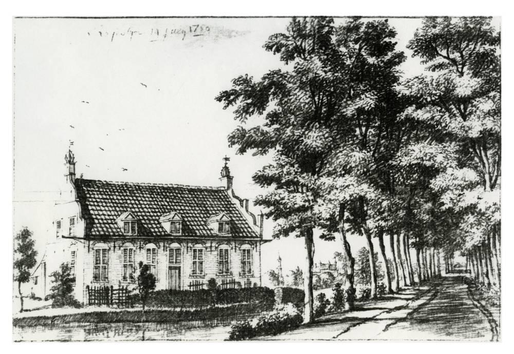 Kasteel Royestein in Cothen. Tekening Jan de Beijer,ca. 1740